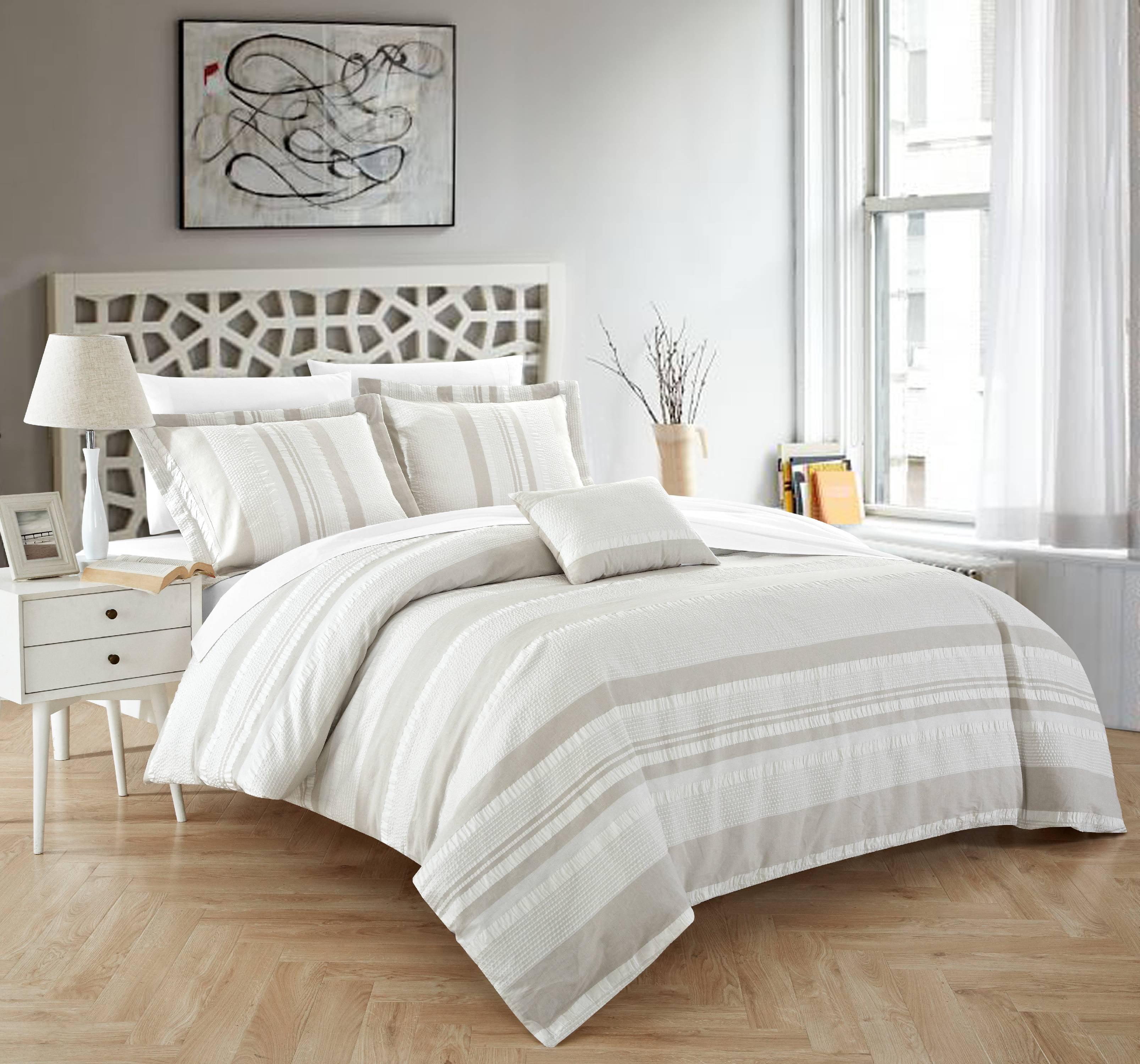Chic Home Devon 4 Piece Duvet Cover Set 100% Cotton Seersucker Striped Design Zipper Closure Bedding with Decorative Pillows Shams Included, King Beige