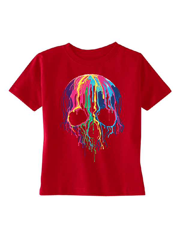 Melting Skull Neon Toddler T-shirt Red 5T