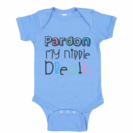 "Breastfeeding Onesie (Funny Milk Baseball Bodysuit Raglan ""Pardon My Nipple Breath"" Silly Breastfeeding Newborn Shirt Gift - Baby Tee, 0-3 months, Blue Solid Short)"