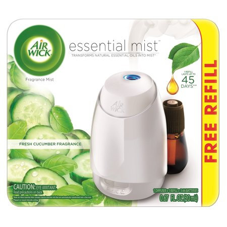 Air Wick Essential Mist Fragrance Oil Diffuser Kit (Gadget + 1 Refill), Fresh Cucumber, Air -