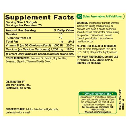 Spring Valley Rapid-Release Calcium 600mg + Vitamin D Softgels, 150 Count