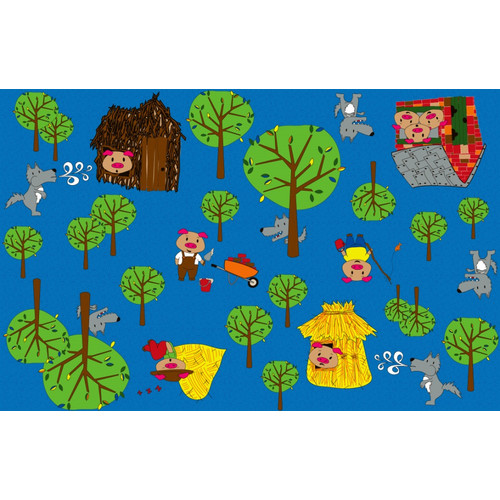 Kid Carpet Huff and Puff Nursery Blue/Green Area Rug