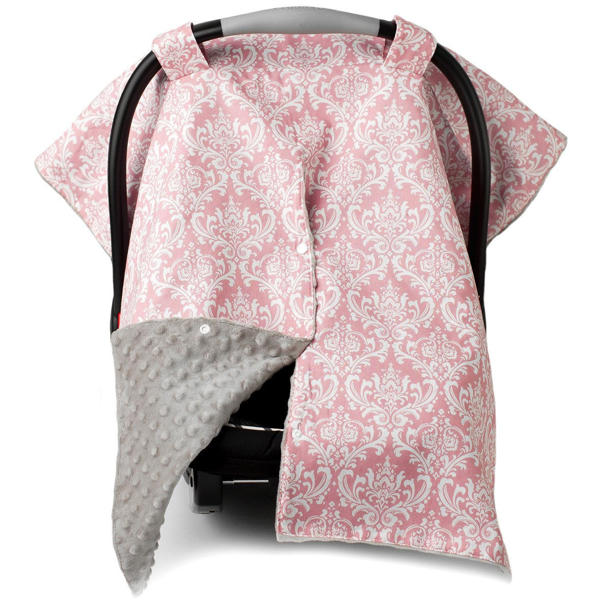 Kids N' Such 2 in 1 Car Seat Canopy Cover with Peekaboo Opening™ - Large Damask Carseat Cover with Champagne Dot Minky | Best for Baby Girls | Doubles as a Nursing Cover for Breastfeeding