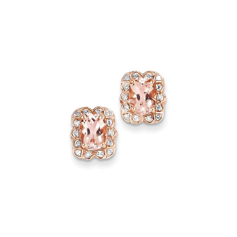 14k Rose Gold Diamond Pink Sapphire Morganite Post Earrings. Carat Wt- 1.51ct (10MM Long x 9MM Wide)