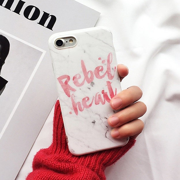 "For iPhone 6 Plus 5.5"" iPhone 6s Plus 5.5"" Rebel Heart White Marble Soft TPU Case Cover"
