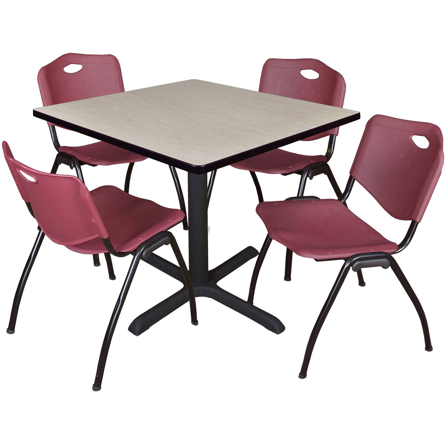 "Cain 36"" Maple Square Breakroom Table and 4 'M' Stack Chairs, Multiple Colors"