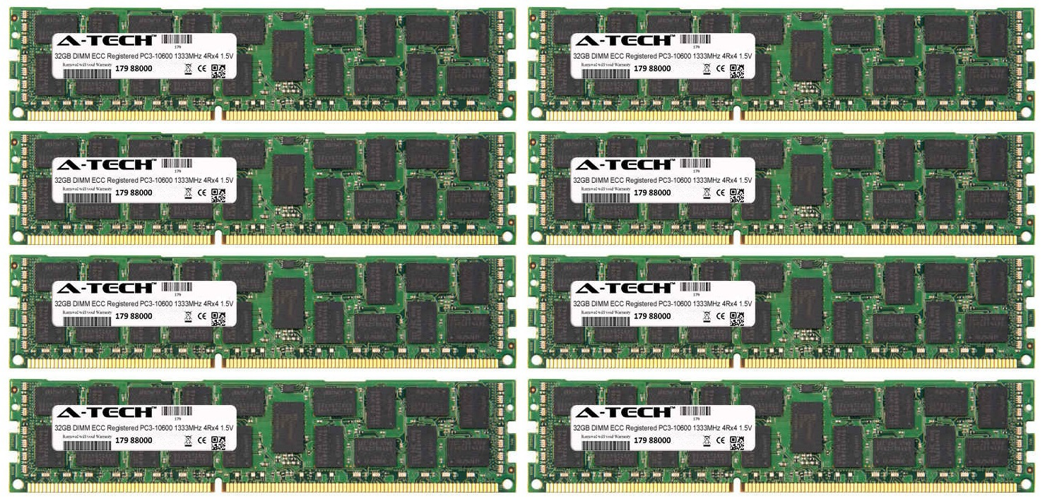 256GB Kit 8x 32GB Modules PC3-10600 1333MHz 1.5V 4Rx4 ECC Registered DDR3 DIMM Server 240-pin Memory Ram