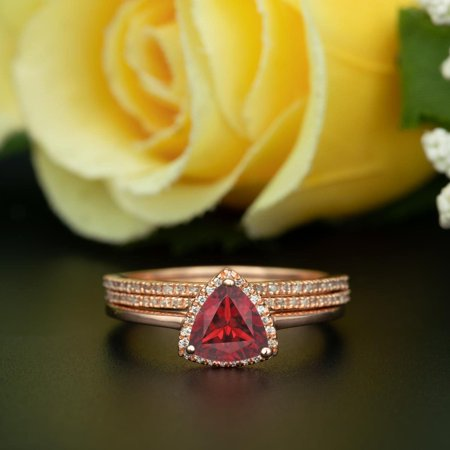 Art Deco 2 Carat Trillion Cut Real Ruby and Diamond Wedding Trio Ring Set with Engagement Ring and 2 Wedding Bands in 18k Gold Over Sterling Silver Diamond Trillion Twist Ring