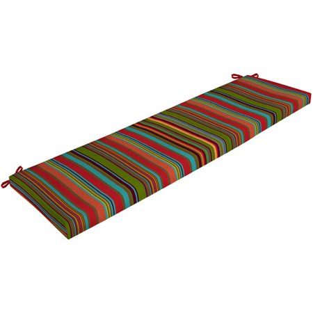 Mainstays Outdoor Bench Cushion Bright Stripe Walmart Com