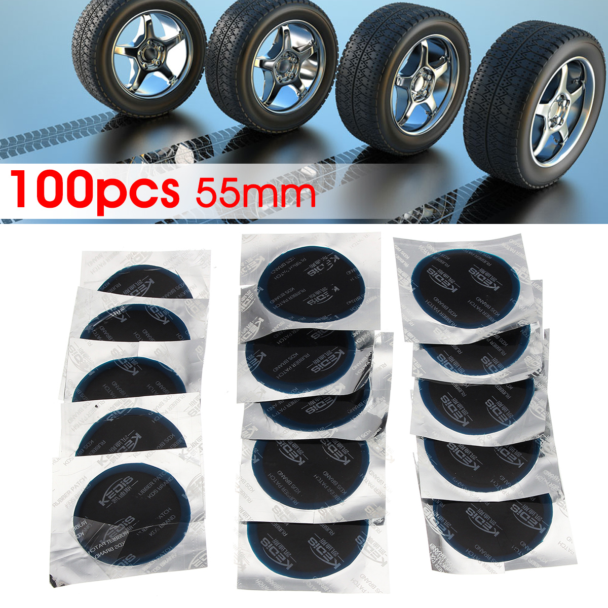 100pcs Car Radial Tire Repair Round Patch Tubeless Tool Medium 55mm 2.17''