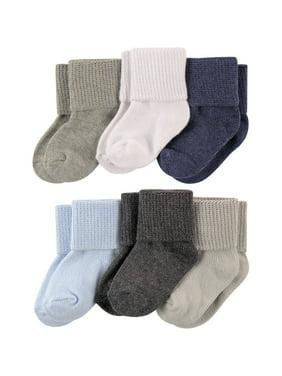 Newborn Baby Boys Basic Cuff Socks 6 Pack