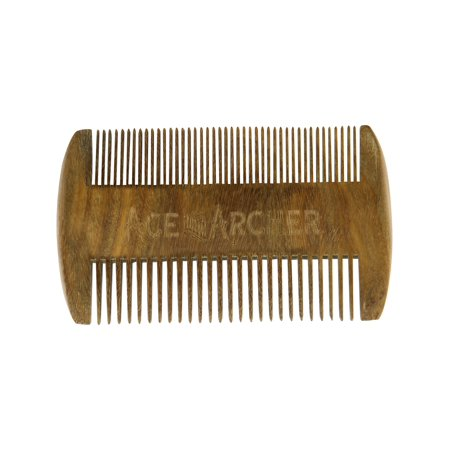 Beard Comb Two-Sided Green Sandalwood - Brown