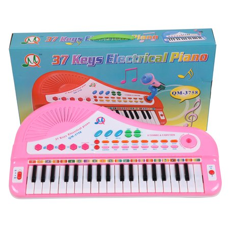 Piano Gift - 37 Keys Kids Electronic Keyboard Piano with Mic for Children Musical Toys Gift - Pink