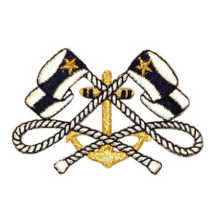 Club Ship (ID 0366 Ship Anchor & Nautical Flags Ensign Patch Yacht Club Iron-On Applique)