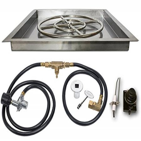 Fire Magic Infrared Burner System - Square Gas Fire Pit Drop In Pan with Burner, Gas Connections and Spark Ignition System Propane Version