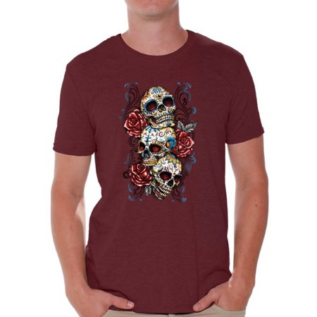 Awkward Styles Three Sugar Skull Tshirt for Men Skull Red Roses Shirt Sugar Skull Shirt Men's Day of the Dead Shirt Dia de los Muertos Gifts for Him Skull T-Shirt Halloween Outfit Sugar Skulls Tshirt (Halloween Outlets)