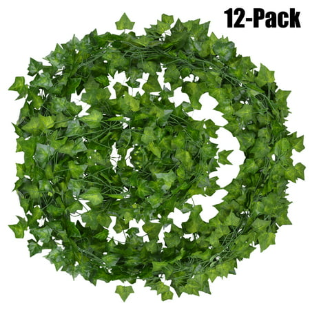 Artificial Ivy Vine,Outgeek 12 Branch 6.89 Ft Silk Fake Hanging Vine Plant Leaves Garland for Wall Decoration](Fake Palm Leaves)