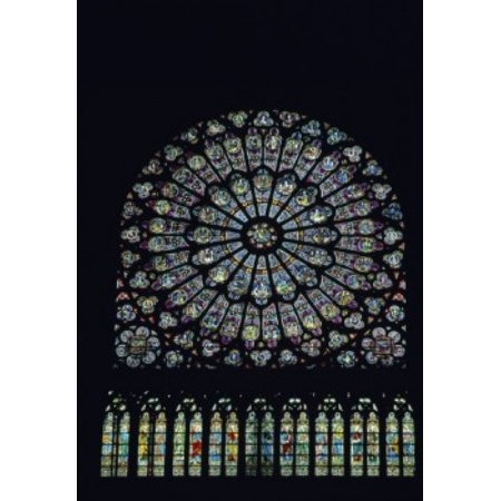 Rose Window Rosace Stained Glass Notre Dame  De Paris Poster Print