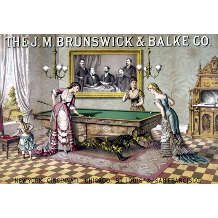 Woman Lithograph - Women Playing Billiards N19Th Century American Lithograph Rolled Canvas Art -  (24 x 36)