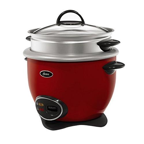 Oster 14-Cup (Cooked) Rice Cooker with Steam Tray - Red