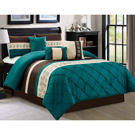California King Toile Comforter - Oversize 7 Piece Luxury Comforter Sets Embroidery Bed in a Bag Microfiber Comforter Set, Teal, California King
