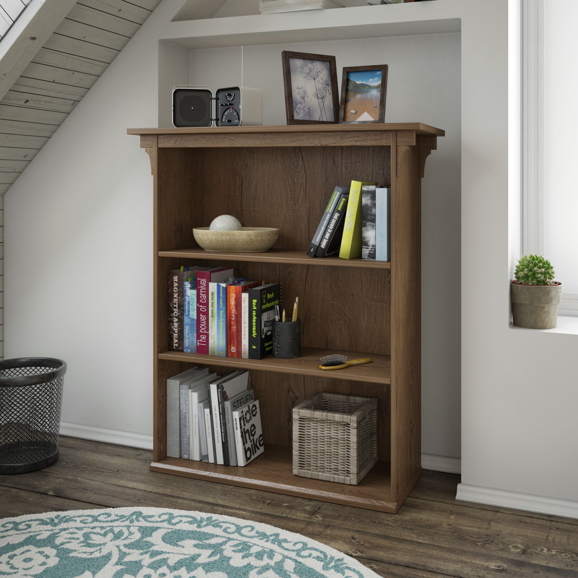 Bush Furniture Mission Creek Collection 3 Shelf Bookcase in Rustic Brown