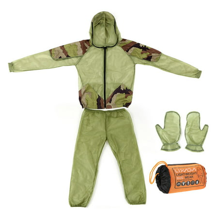 Lixada Outdoor Mosquito Repellent Suit Bug Jacket Mesh Hooded Suits Fishing Hunting Camping Jacket Insect Protective Mesh Shirt Gloves Pants