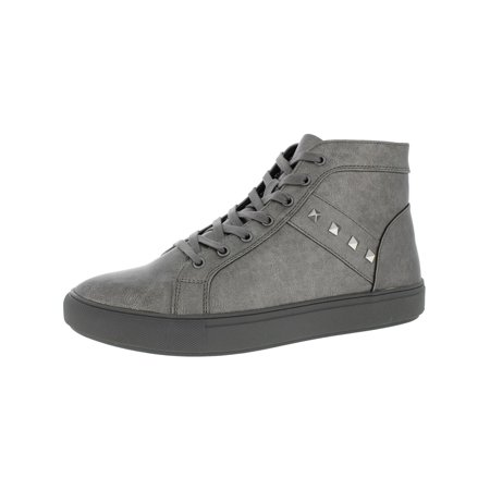 b18be4b70cd Steve Madden Mens Archie Studded High Top Fashion Sneakers Gray 7 Medium (D)