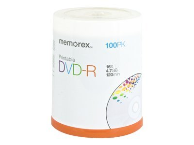 graphic relating to Printable Dvd Discs named Memorex 05642 4.7GB Printable DVD-R (100-ct spindle)