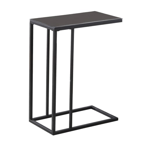 Black Metal Accent Table with Black Tempered Glass Top by Monarch Specialties Inc
