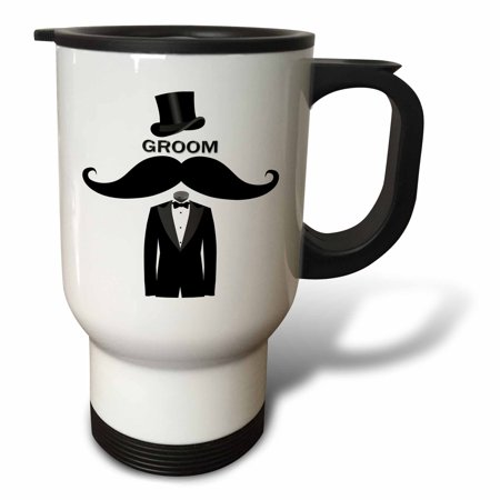 3dRose Groom with Top Hat,Mustache and Tuxedo - Travel Mug, 14-ounce, Stainless Steel