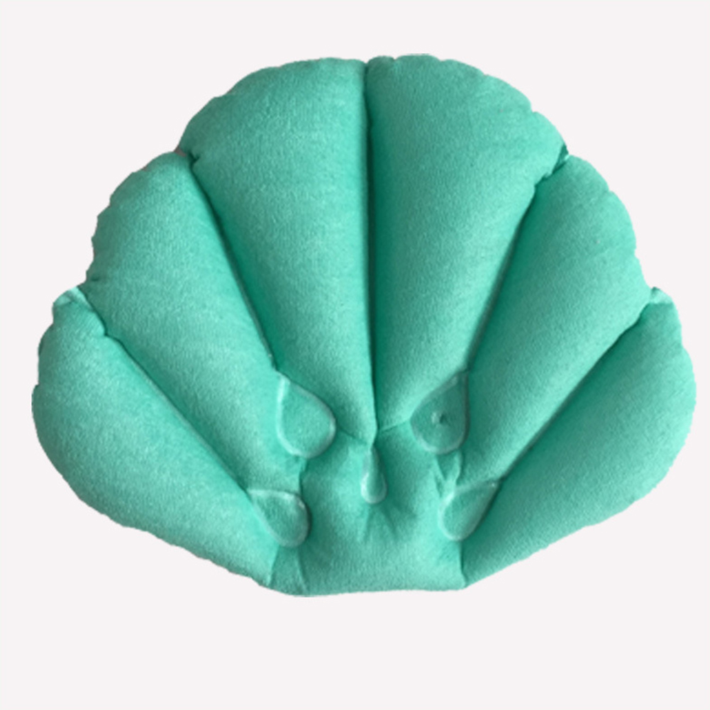 Comfortable Shell Shape Terrycloth Covering Support Head and Neck Inflatable Bath Bathtub Pillows Color:random
