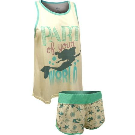 Disney Little Mermaid Princess Ariel Tank Shortie Pajama Set - Ariel Clothes For Adults