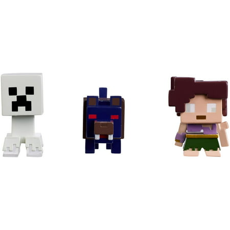Minecraft Mini Figure Halloween Series 3-Pack Ghost Creeper, Wolfman, and Farlander - Halloween Roller Coaster Minecraft