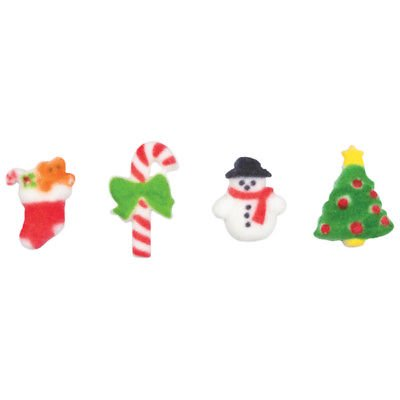 Merry Miniatures Candy Cane, Christmas Tree, Snowman, Stocking Assortment Edible Sugar Decorations - 12 Count - 24905 ()