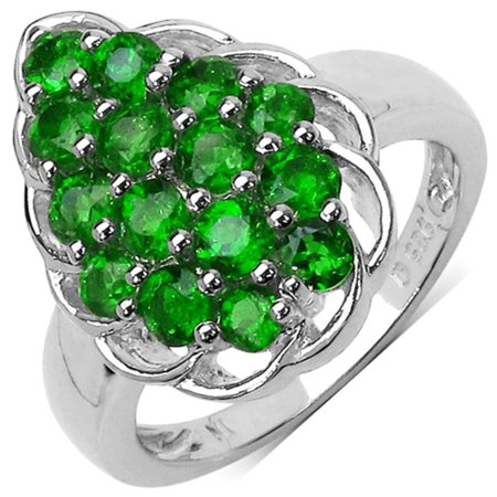 Genuine Round Chrome Diopside Ring in 14k Yellow Gold Plated Sterling Silver - Size 7.00
