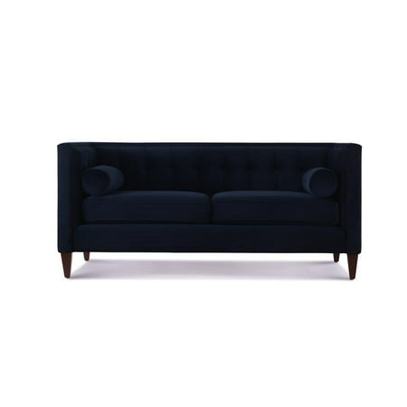 Brilliant Brika Home Tufted Tuxedo Loveseat In Dark Navy Blue Inzonedesignstudio Interior Chair Design Inzonedesignstudiocom