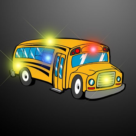 Light Up School Bus Flashing Blinking LED Body Light Lapel Pins (5-Pack), Contains 5 Flashing Yellow School Bus LED Lapel Pins By FlashingBlinkyLights