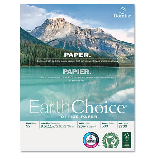 "Domtar Earthchoice Copier Paper - For Laser, Inkjet Print - Letter - 8.50"" X 11"" - 20 Lb Basis Weight - 5000 / Carton - White (2700_40)"