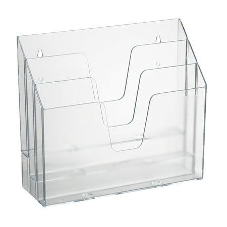 Acrimet Horizontal Triple File Folder Organizer (Crystal Color) Horizontal Desk Organizer