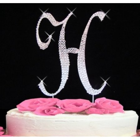 Rhinestone Cake Topper Letter H by, Rhinestone Cake Topper Letter H 5'' High Wedding Decoration By (Best Wedding Cake Frosting)