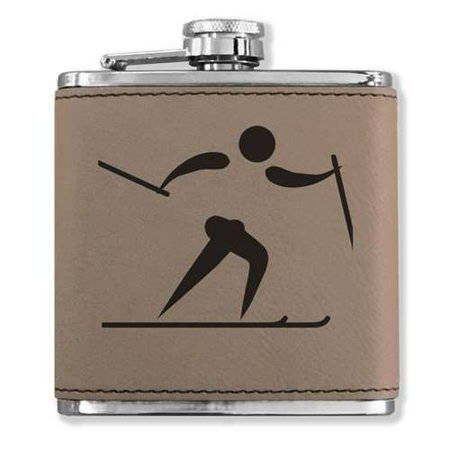 Faux Leather Flask - Skier Cross Country - Light
