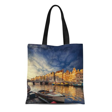 POGLIP Canvas Bag Resuable Tote Grocery Shopping Bags Amsterdam Canal on the West Is Capital and Most Densely Populated City Tote Bag - image 1 of 1