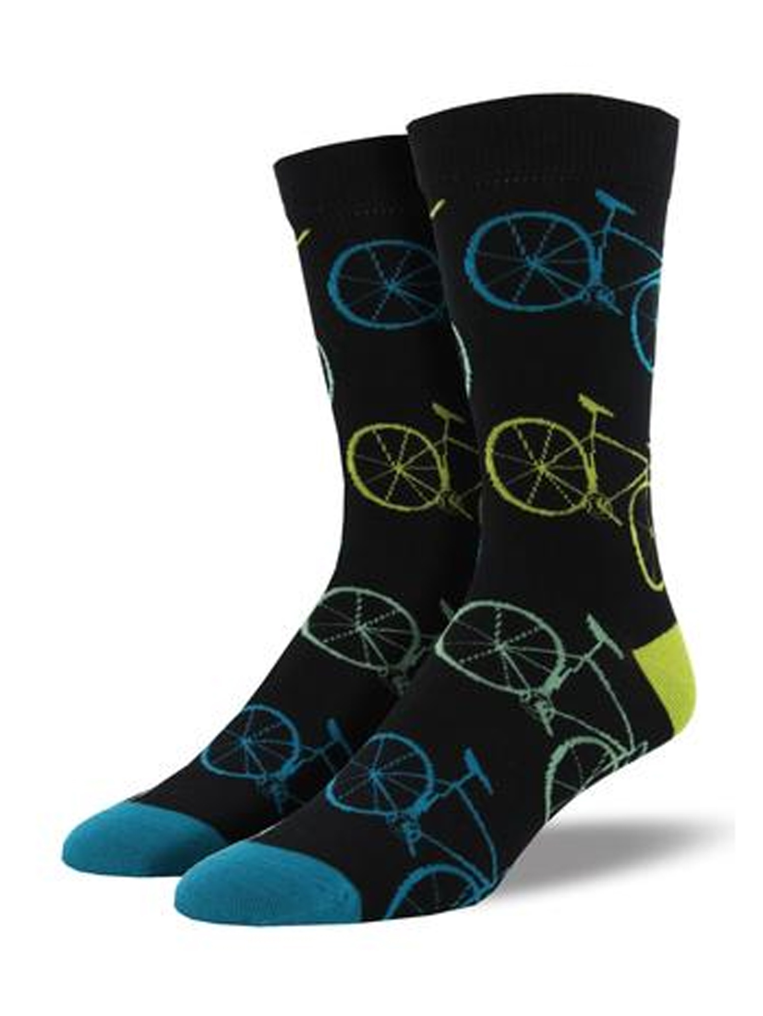 Novelty Socks FIXIE BLACK Fabric Bamboo Crew Bicycle Mbn853 Blk