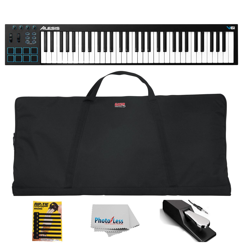 Alesis V61| 61-Key USB MIDI Pad/Keyboard Controller + Gator Bag + Pedal & More