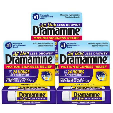 Dramamine Less Drowsy Formula Motion Sickness Relief Tablets, 3 Packs of 8