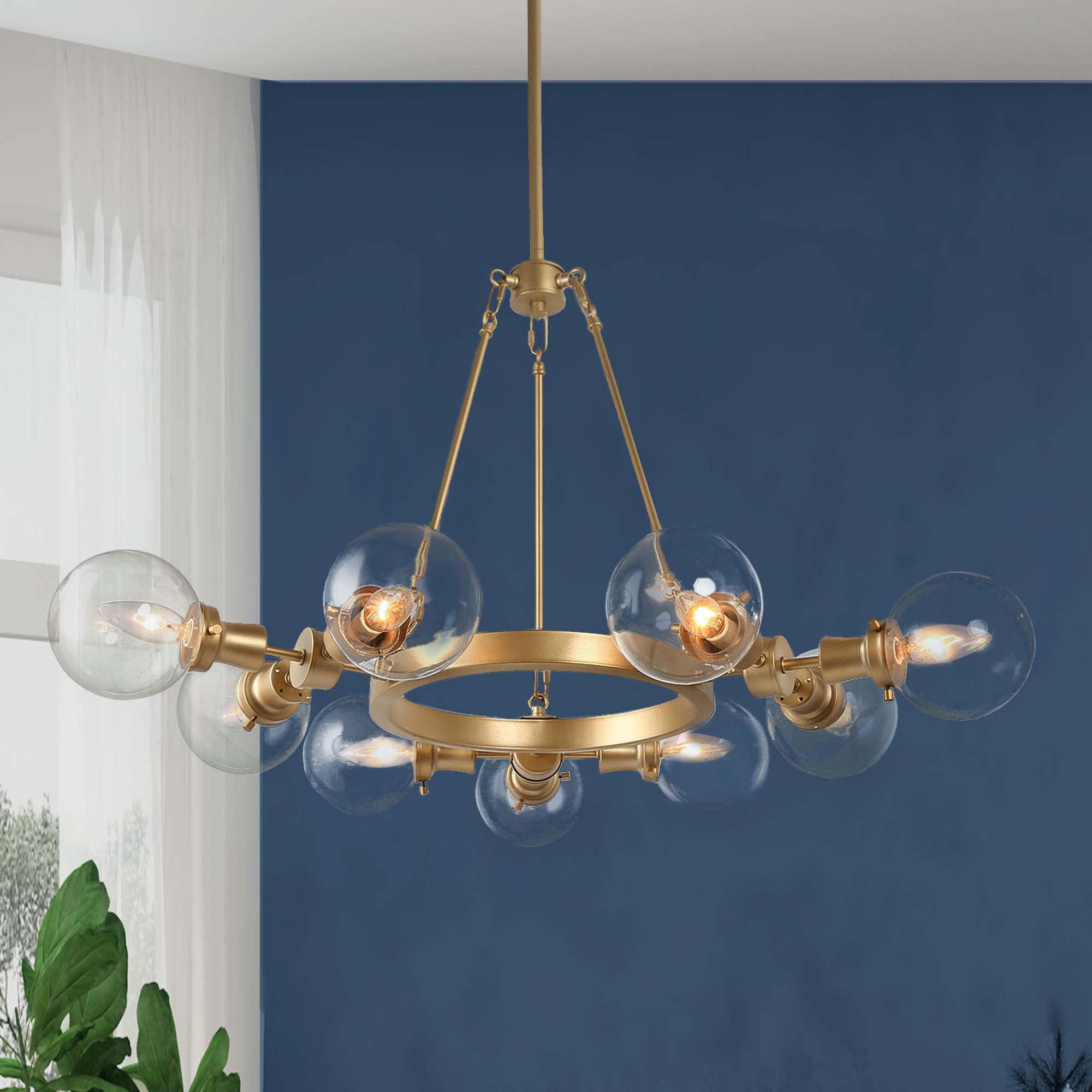 Glam 9 Light Gold Wagon Wheel Chandelier With Glass Globe Shades Walmart Com Walmart Com