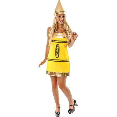 Women's Yellow Crayon Fancy Dress (Women's Yellow M&m Costume)