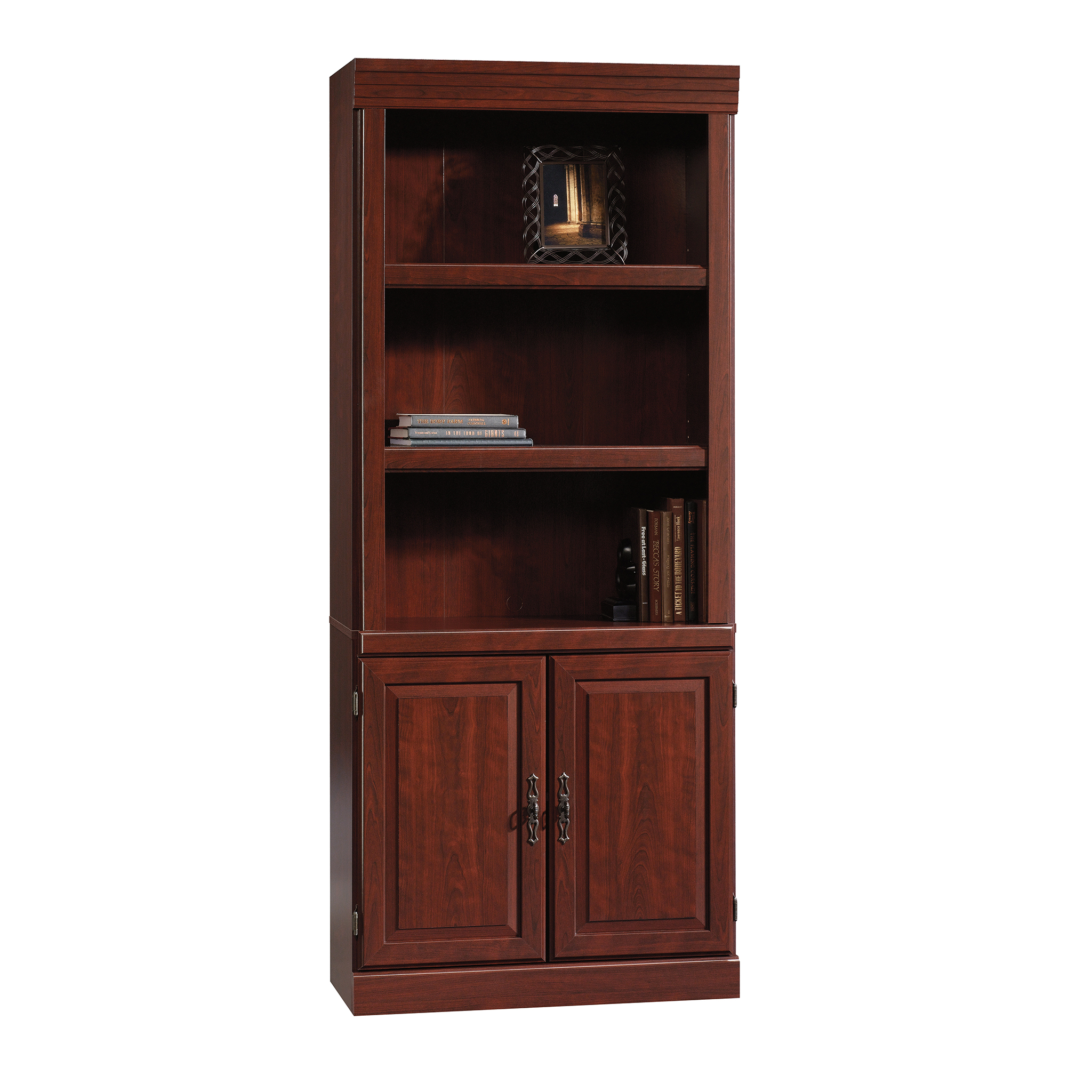 Bon Sauder Heritage Hill Library With Doors, Classic Cherry Finish