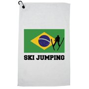 Brazil Olympic - Ski Jumping - Flag - Silhouette Golf Towel with Carabiner Clip